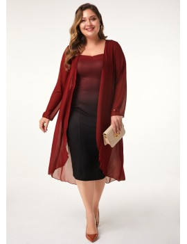 Chiffon Cardigan and Gradient Plus Size Dress