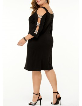 Criss Cross Sleeve Rhinestone Embellished Plus Size Dress