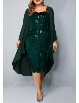 Plus Size Chiffon Cardigan and Sequin Embellished Dress