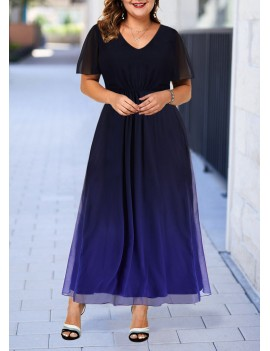 Plus Size Blue Gradient Back Zipper Dress