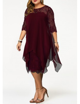 Plus Size Chiffon Overlay Lace Panel Dress