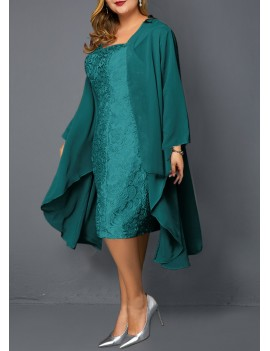 Plus Size Chiffon Cardigan and Turquoise Sleeveless Lace Dress