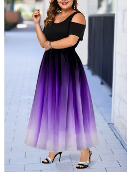Cold Shoulder Plus Size Gradient Dress