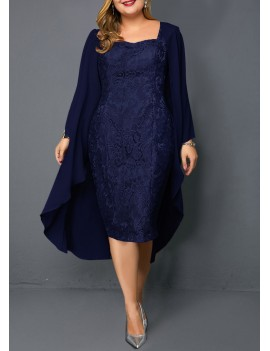 Plus Size Chiffon Cardigan and Sleeveless Navy Blue Lace Dress