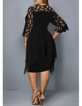 Mesh Panel Layered Round Neck Plus Size Dress