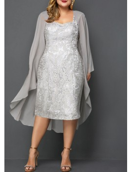 Plus Size Chiffon Cardigan and Lace Dress