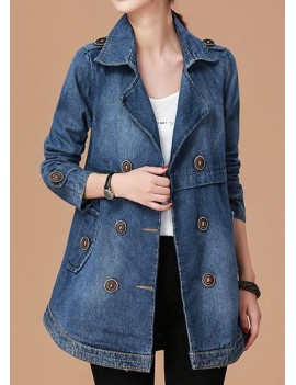 Button Detail Long Sleeve Pocket Denim Coat