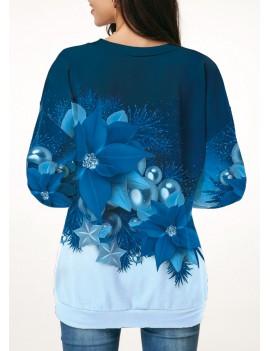 Christmas Flower Print Long Sleeve Sweatshirt