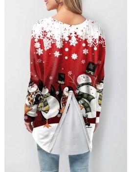 Christmas Print Asymmetric Hem Long Sleeve Sweatshirt