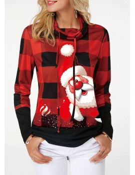 Santa Claus and Plaid Print Drawstring Detail Sweatshirt