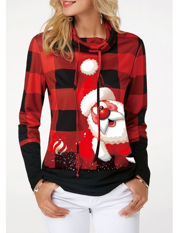 Santa Claus and Plaid Print Drawstring Detail Sweatshirt