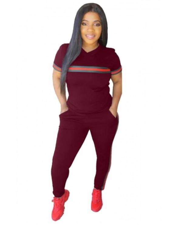 Plus Size Sports Style Striped Pocket Two-Piece Set Ruby