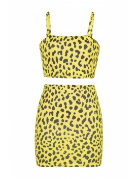 Spaghetti Straps Crop Top Leopard Print Skirt Two-Piece Set Yellow