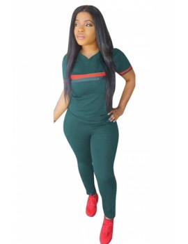 Plus Size Sports Style Striped Pocket Two-Piece Set Green