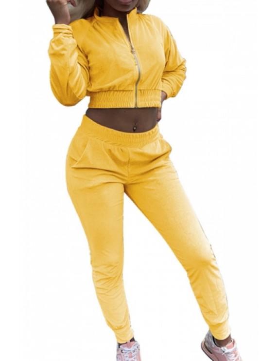 Solid Crop Jacket And Jogger Pants Set Yellow
