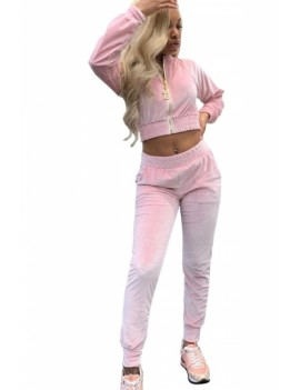 Long Sleeve Crop Jacket And Pants Set Pink