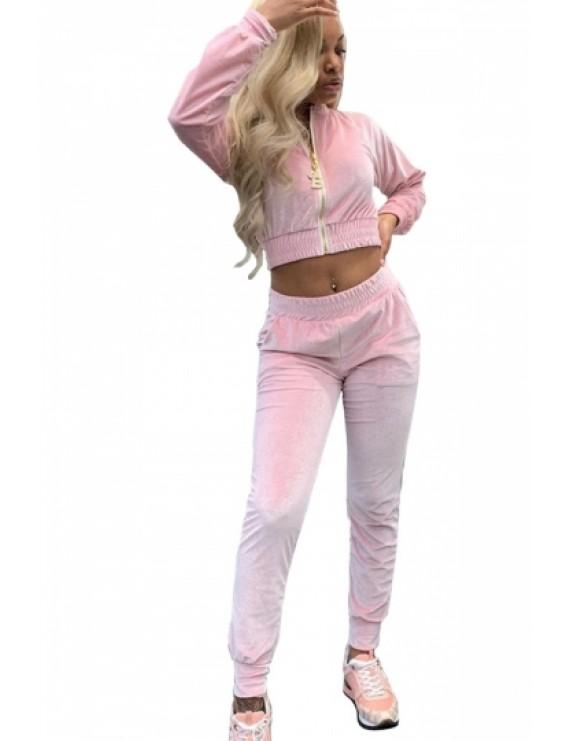 Long Sleeve Crop Jacket And Pants Set Pink