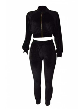Crop Jacket And Pants Two-Piece Outfit Set Black