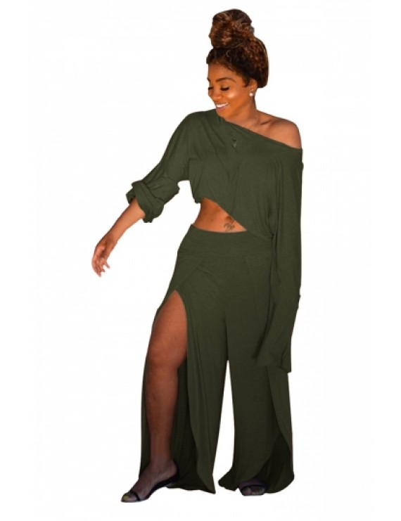 Plus Size Long Sleeve Crop Top Split Pants Two-Piece Set Olive