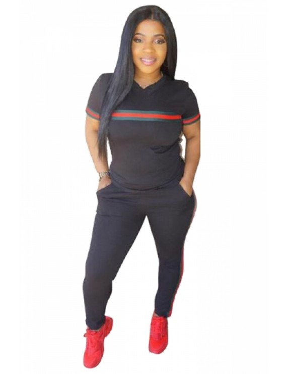 Plus Size Striped Two-Piece Sports Style Tee And Pants Set Black