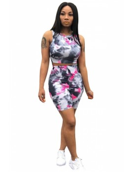 Tie Dye Two-Piece Crop Top High Waisted Pants Set Rose Red