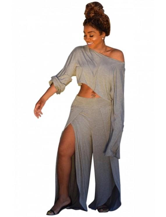 Plus Size Long Sleeve Crop Top Split Pants Two-Piece Set Gray