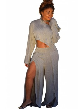 Plus Size Long Sleeve Crop Top Split Pants Two-Piece Set Gray