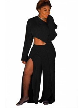 Plus Size Long Sleeve Crop Top Split Pants Two-Piece Set Black