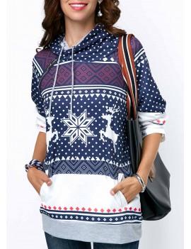 Printed Long Sleeve Drawstring Pullover Hoodie