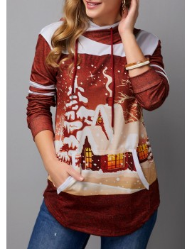 Christmas Print Drawstring Detail Kangaroo Pocket Hoodie
