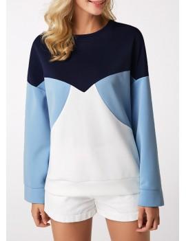 Round Neck Long Sleeve Patchwork Sweatshirt