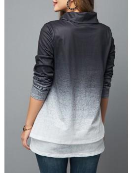 Layered Hem Cowl Neck Gradient Sweatshirt