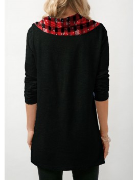Santa Print Long Sleeve Button Embellished Christmas Sweatshirt