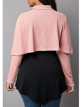 Cape Shoulder Asymmetric Hem Button Detail Sweatshirt