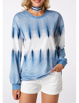 Long Sleeve Round Neck Printed Blue Sweatshirt