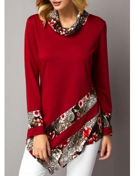 Asymmetric Hem Floral Print Cowl Neck Sweatshirt