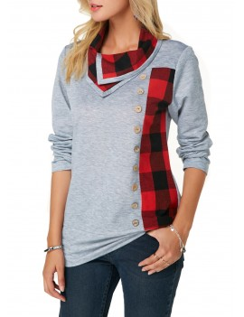 Button Detail Long Sleeve Plaid Print Sweatshirt