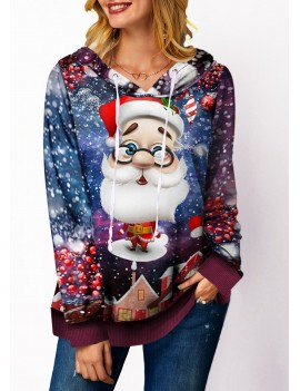 Santa Claus Print Drawstring Detail Long Sleeve Sweatshirt