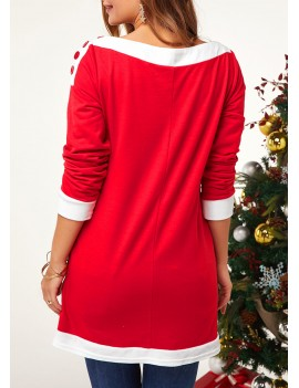 Christmas Print Contrast Piping Button Embellished Sweatshirt