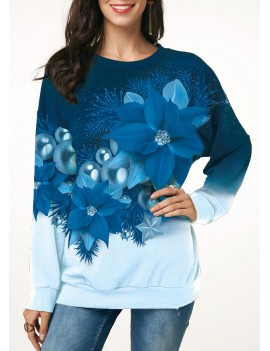 Christmas Flower Print Long Sleeve Sweatshirt