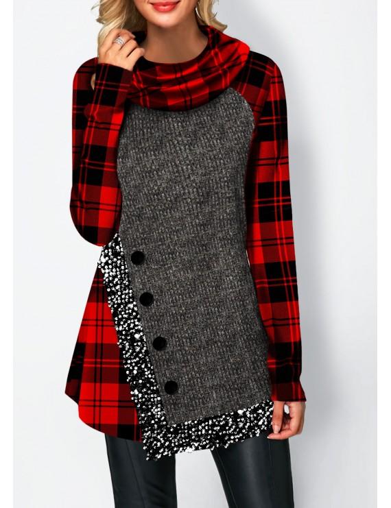 Asymmetric Hem Sequin Panel Button Detail Sweatshirt