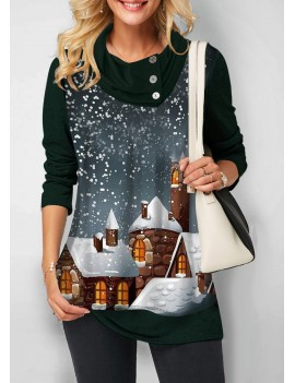 Christmas Print Button Detail Long Sleeve Sweatshirt