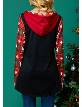 Christmas Print Lace Up Neck Long Sleeve Hoodie