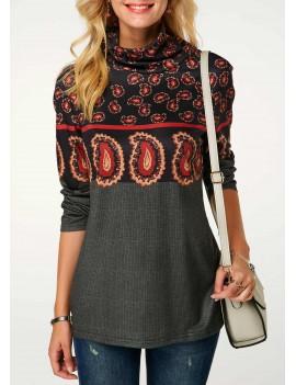 Cowl Neck Long Sleeve Printed Sweatshirt