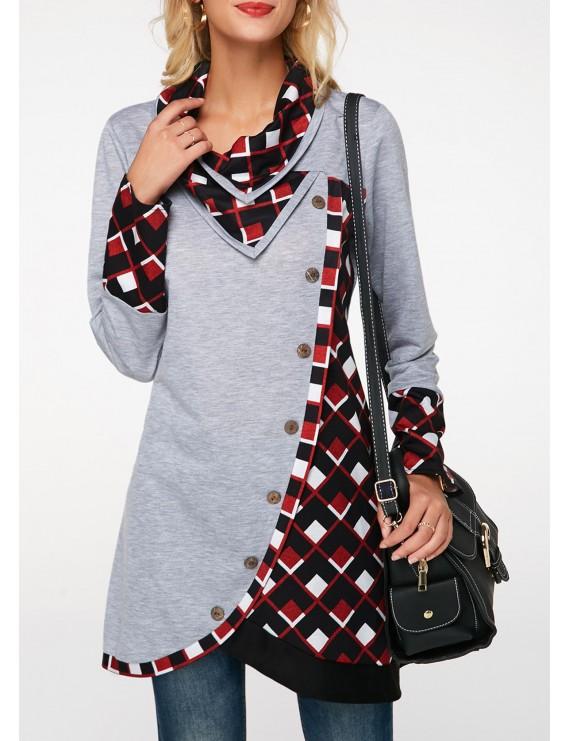 Long Sleeve Tulip Hem Printed Sweatshirt