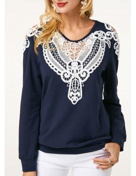 Crochet Panel Long Sleeve Navy Blue Sweatshirt