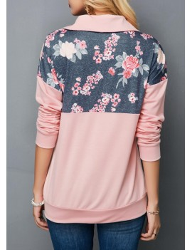 Kangaroo Pocket Drop Shoulder Flower Print Sweatshirt