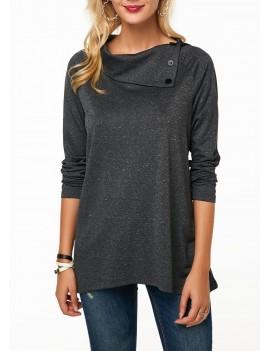 Button Embellished Long Sleeve Dark Grey Sweatshirt