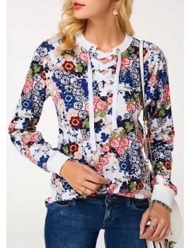 Lace Up Front Long Sleeve Sweatshirt