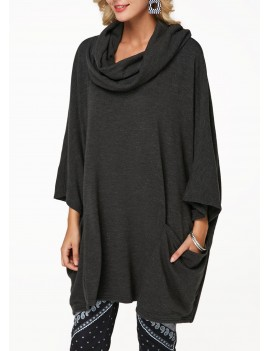 Cowl Neck Pocket Dark Grey Tunic Sweatshirt
